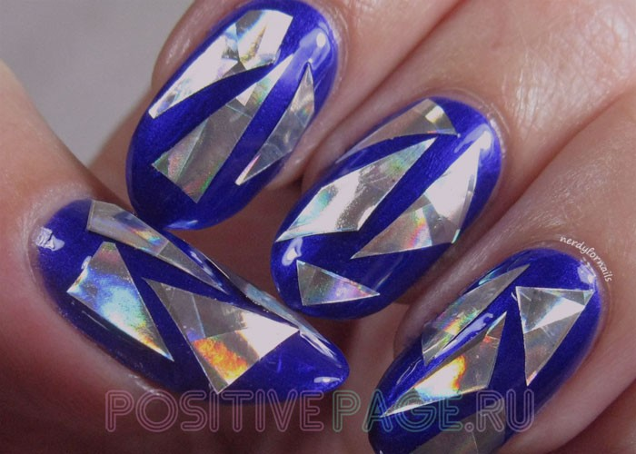 дизайн битого стекла на ногти.