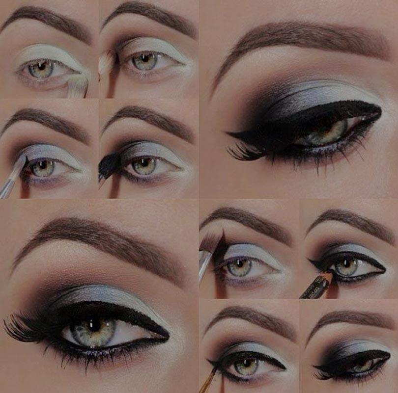 макияж серых глаз пошагово.