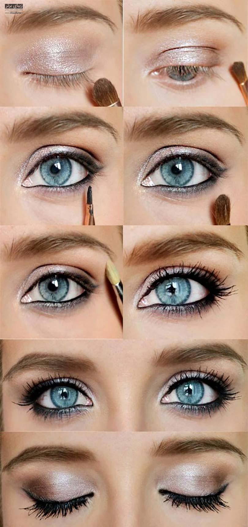 макияж для серо голубых глаз пошагово фото