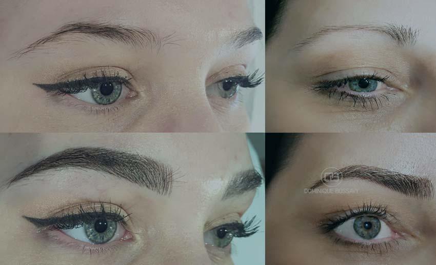 результат процедуры перманентного макияжа до и после.